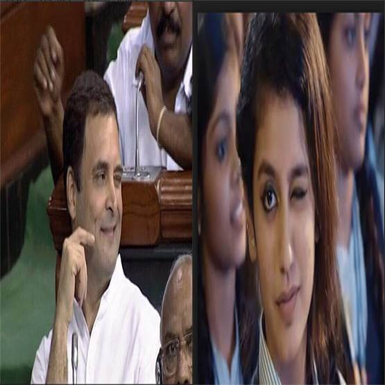 आंख मारने की हरकत से सोशल मीडिया पर ट्रेंड करने लगे राहुल गांधी