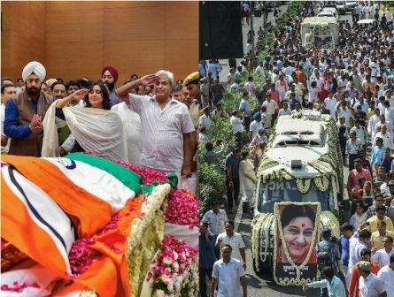 सुषमा स्वराज पंचतत्व में विलीन, राजकीय सम्मान के साथ दी गई विदाई, बेटी ने किया अंतिम संस्कार