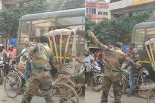 लंका थाने के समीप थोड़ी सी बात पर सेना के जवान ने रिक्शा चालक को पीटा